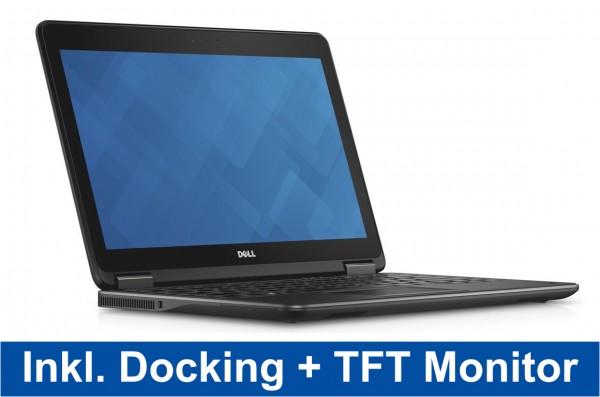 Home Office Bundle Dell Latitude E7240 12,5 Zoll HD Intel Core i7 256GB SSD 8GB Win 10 Pro MAR UMTS